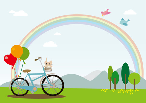 Rainbow and bicycle landscape