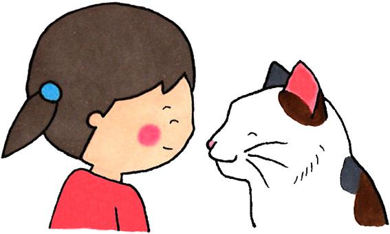 貓和女孩(盯著對方)