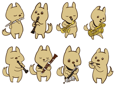Puppy and instrument [Woodwind instrument edition]