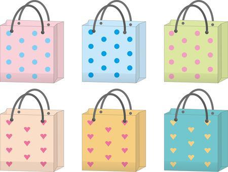 Paper bag water polka dots