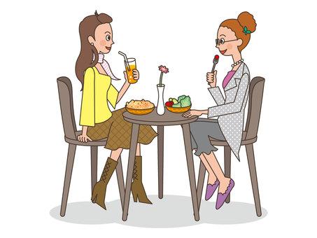 人物/女性/友達/2人/カフェ