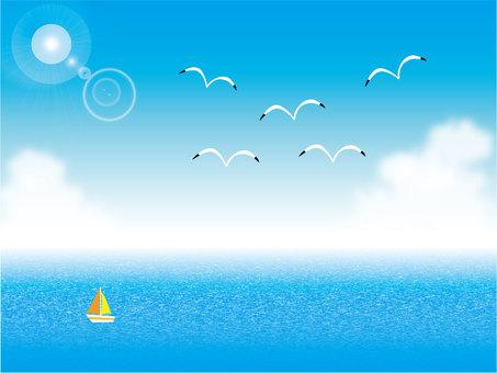 Blue sky, sea, yacht and seagull