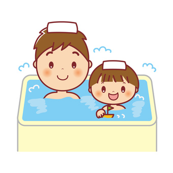Parent and child taking bath