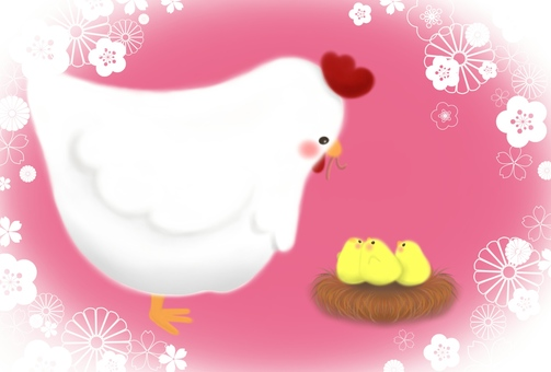 Chicken and chick (pink)
