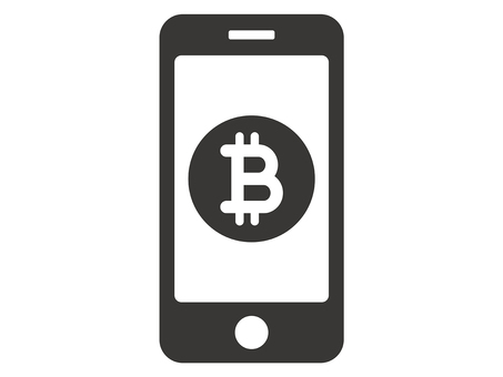 Bitcoin and smartphone icons