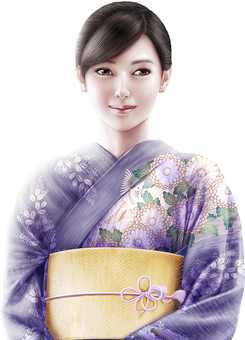 Beautiful woman wearing a purple Japanese clothes up upper body up