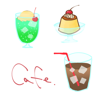 Hand-painted coffee shop menu material