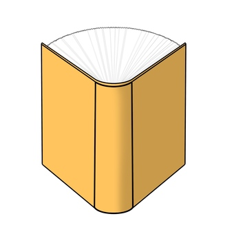 Horizontal perspective illustration of an open yellow book