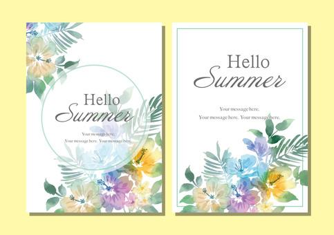 ハイビスカスの夏用カード素材