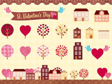 Valentine's cityscape