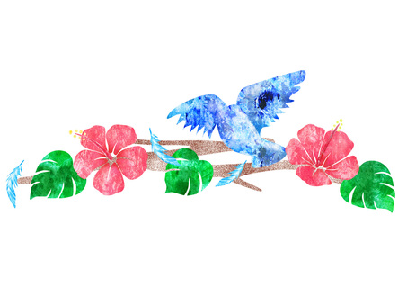Blue Bird Hibiscus Line 01