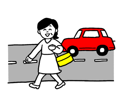 A woman walking along the national highway (simple)
