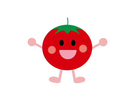 Illustrated material of cheerful tomato
