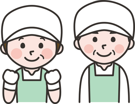 Senior man and woman in food factory
