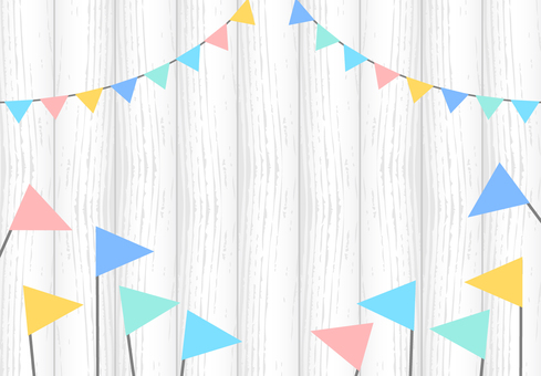 White wood flag garland