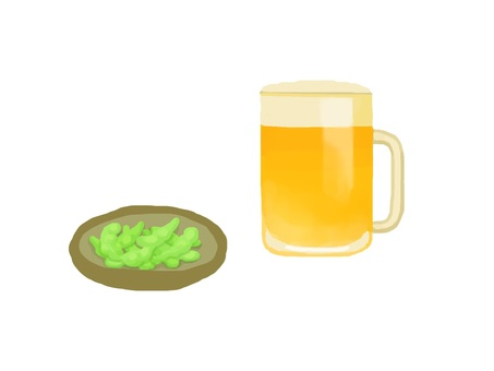 Raw beer and green beans