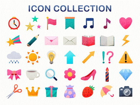 Hand-drawn style colorful icon collection