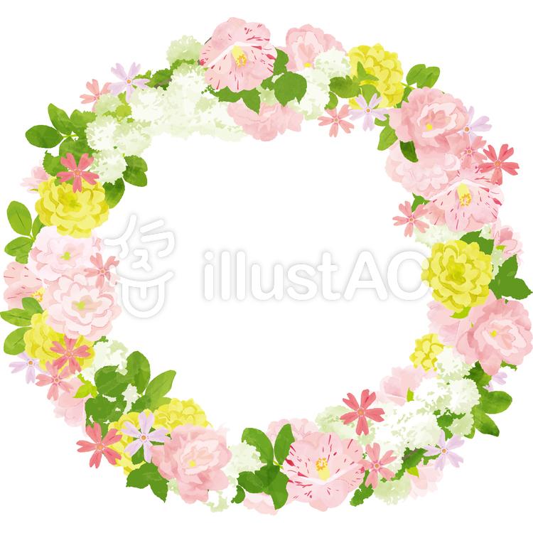 ピンクの花のリースイラスト No 787021無料イラストなら