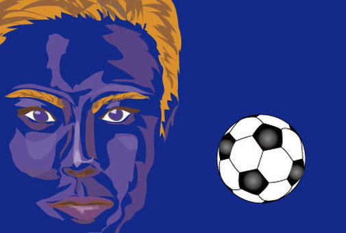 Soccer ball and match support banner