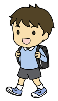 School bag and boy