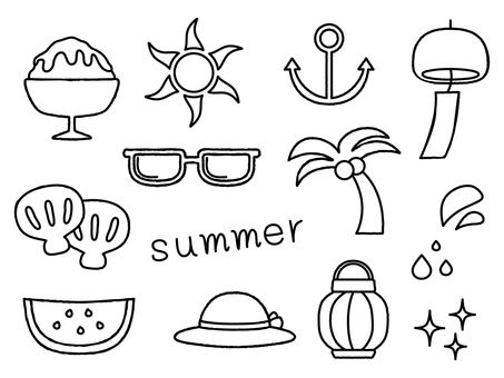 Summer illustration (line drawing)