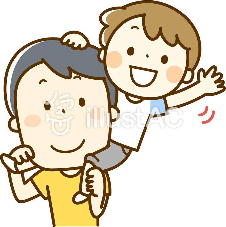 肩車するお父さんと子供のイラスト