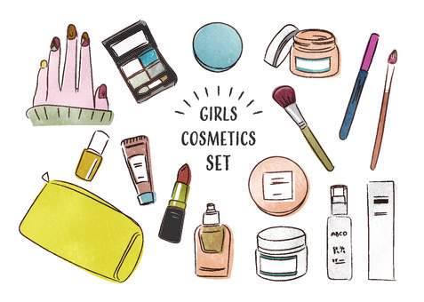 Cosmetics cosmetic girl makeup watercolor style