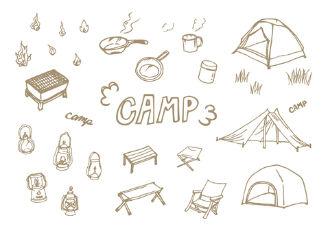 Various illustrations of camping