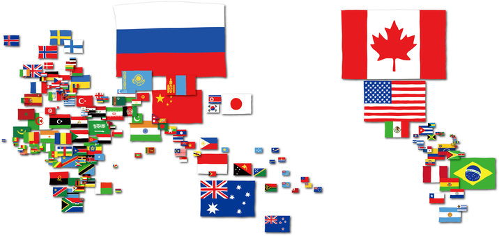 Flag map of the world map of the flag