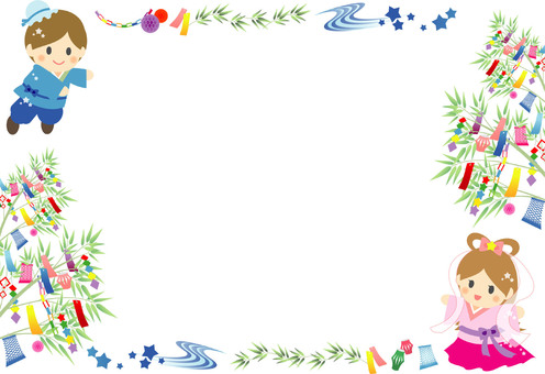 Tanabata frame with Orihime Hoshiboshi and amber decoration