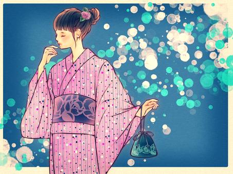 Beautiful girl in yukata (foamy background)