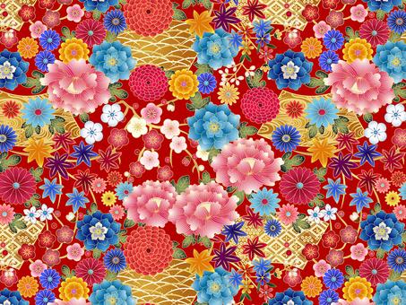 Peony / chrysanthemum · autumn leaves · fan pattern · swatch