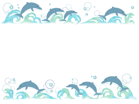 Dolphin and wave frame 01