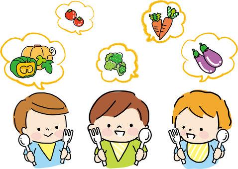 Vegetables and children (boys)