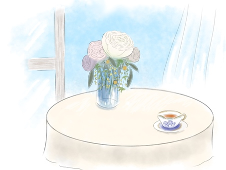Relaxing tea time with flowers and tea