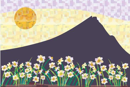 Mount Fuji and daffodils