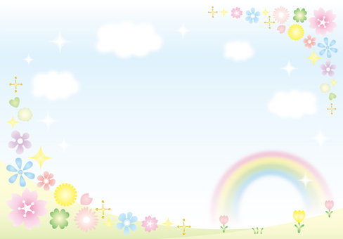 Sky and rainbow and flower background