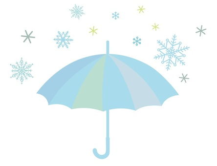 Umbrellas and snow