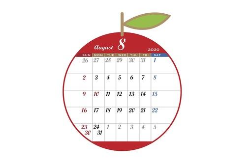 2020 Calendar apple red August