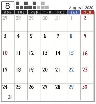 2020 Calendar Plock August