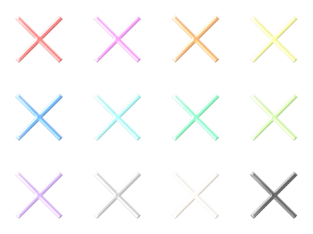 Three-dimensional plane figure (X, light color)