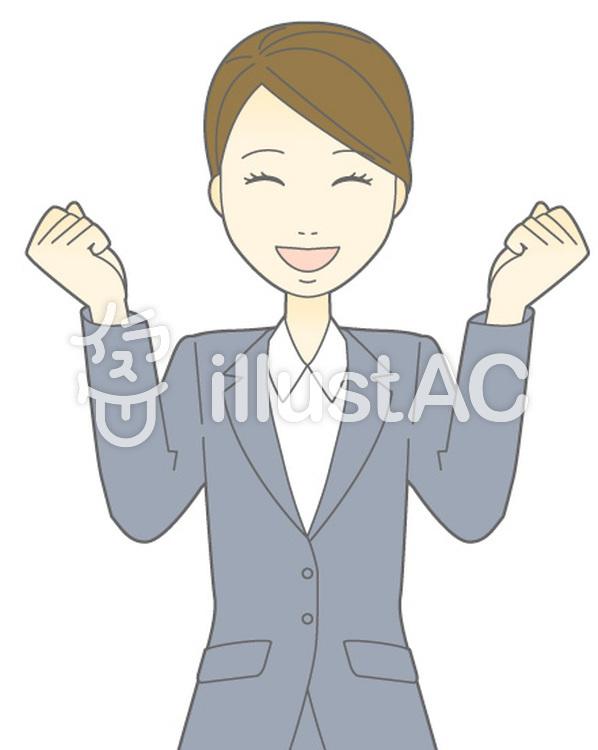 D女性スーツ-わくわく-バストのイラスト