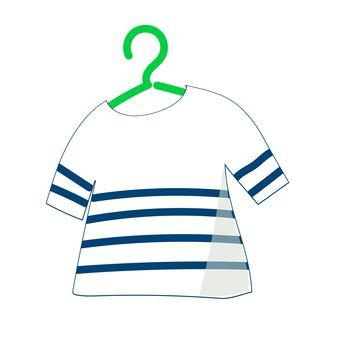Border T-shirt on a hanger