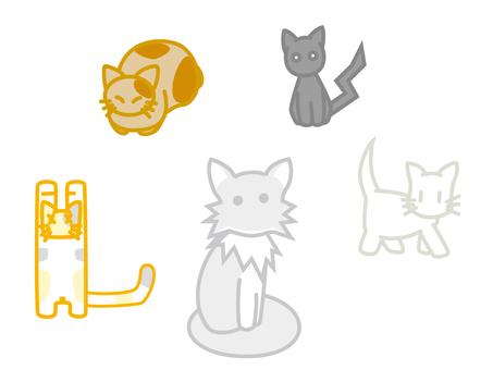 다양한 고양이 세트