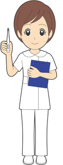 Nurse with female thermometer · female