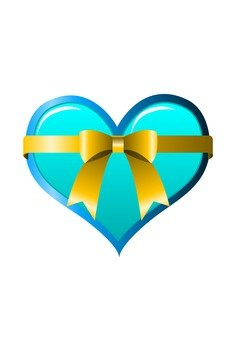 Heart with ribbon (blue)