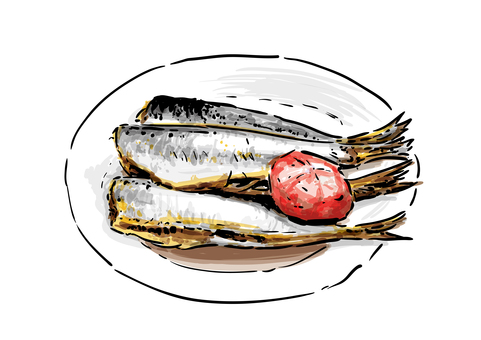 Boiled sardines with plum