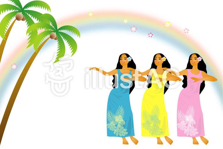 フラダンス三人娘1のイラスト