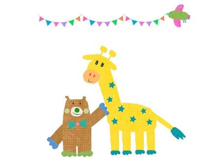 Giraffe and bear