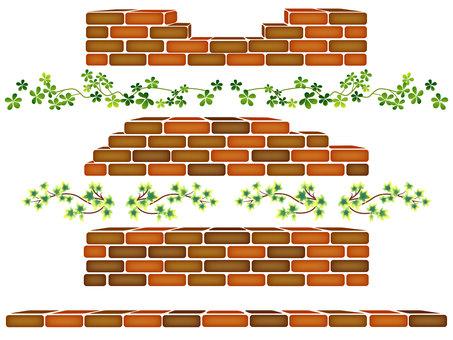 Three-dimensional brick materials and decorative leaves